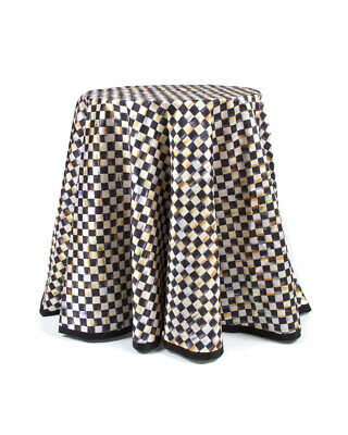 """Mackenzie Childs COURTLY CHECK Tablecloth 90"""" ROUND TABLE SKIRT NEW $350 m20-de"""