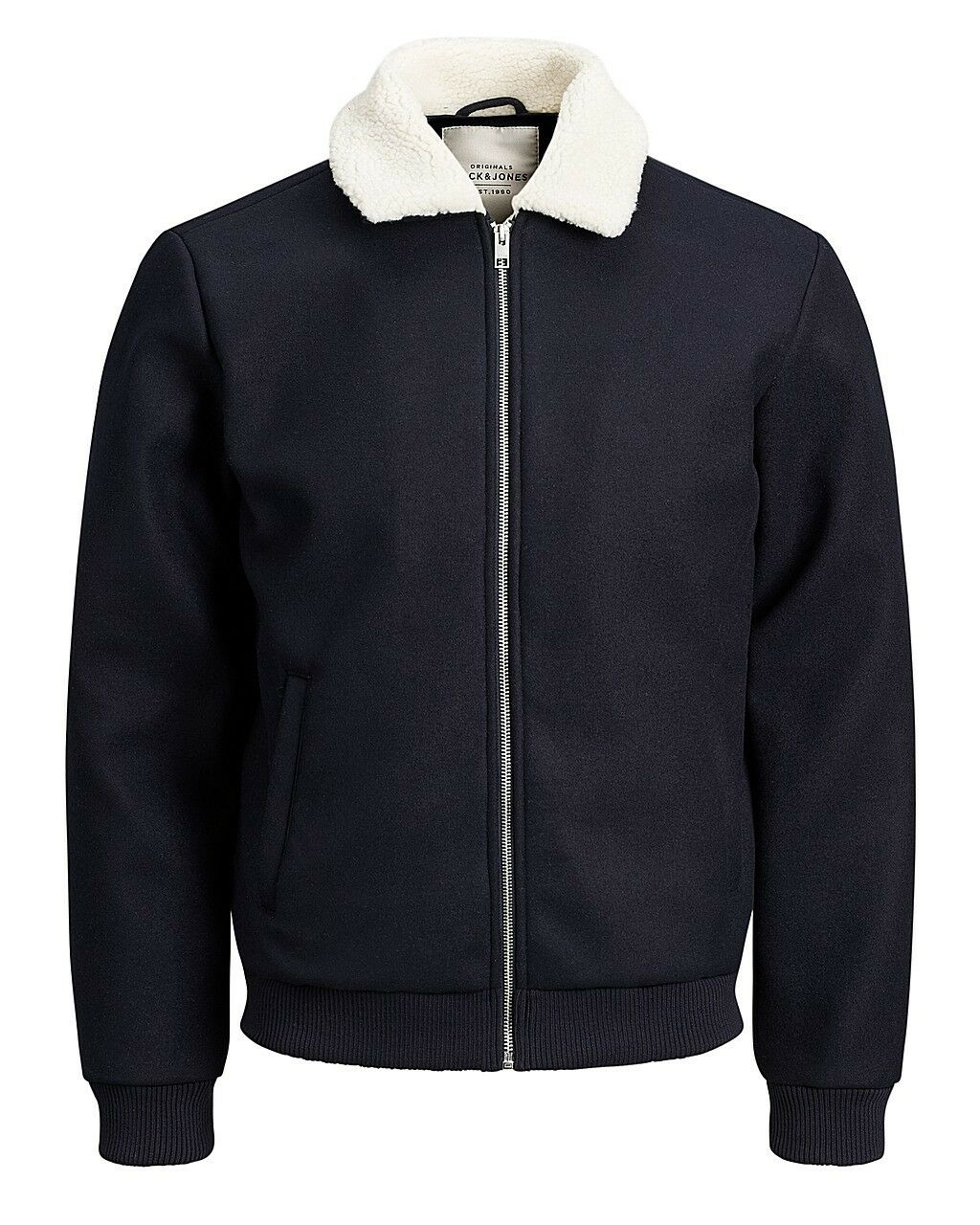 Jack /& Jones Originals Bomber Jacket Jorfreddy Mens Wool Blend Borg Collar Coat