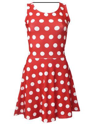 Vintage Minnie Polka Dots Print Sleeveless Skater Dress Fancy Dress Halloween