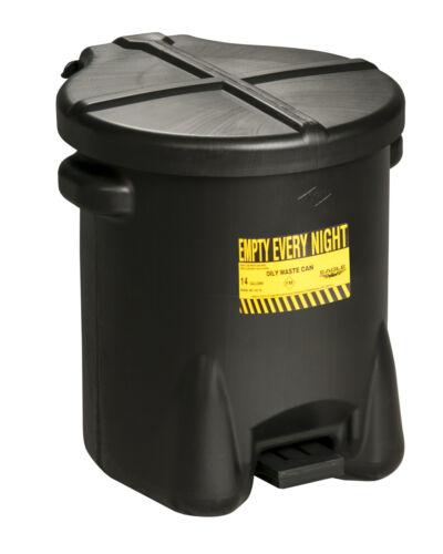 Polyethylene Waste Can, 14 Gallon, Yellow, Eagle 937-FLBLK