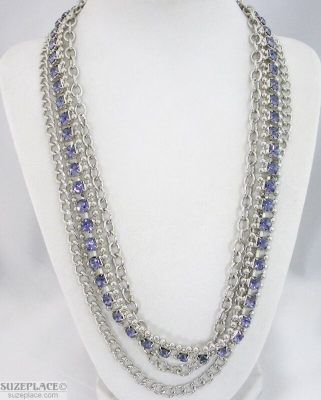 NEW TARGET SILVER TONE CHUNKY MULTI CHAIN BLUE PURPLE RHINESTONE NECKLACE NWT