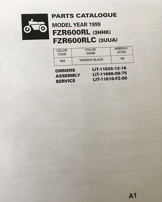 YAMAHA FZR 600 RL 3HHK RLC 3UUA PARTS LIST MANUAL CATALOGUE 1999 paper copy.