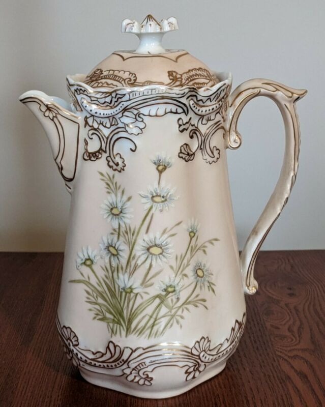 Limoges France Chocolate Pot Daisies Gold Trim