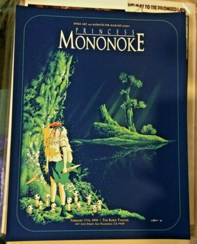2018 PRINCESS MONONOKE SAN FRANCISCO MOVIE POSTER CHING 2/17 #/100 S/N PP MONDO