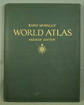 Rand McNally Wolrd Atlas premier edition big old vintage book 1942
