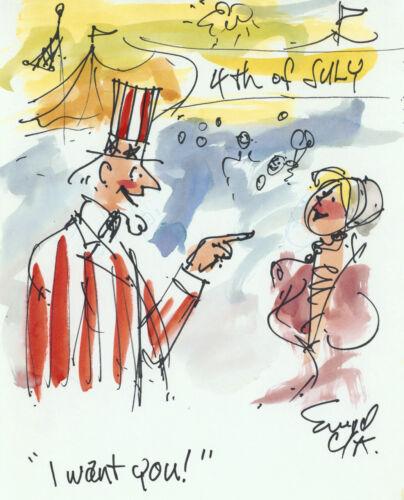 Doug Sneyd Signed Original Art Prelim Sketch Playboy Gag Rough July 4 Uncle Sam