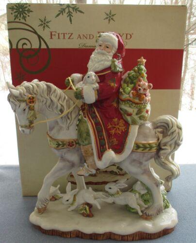 Fitz & Floyd Damask Holiday Large Centerpiece Santa on Horse Figurine New in Box
