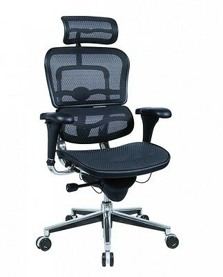 New Raynor Ergohuman Me7erg Office Chair Black Mesh High Back With Headrest