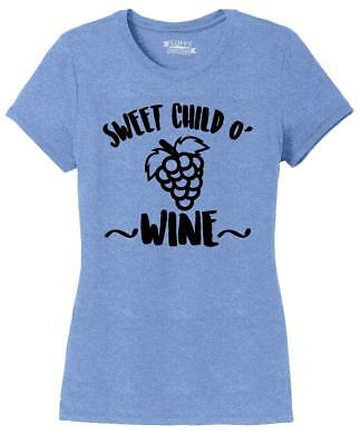 Ladies Sweet Child O Wine Tri-Blend Tee Music Alcohol Party