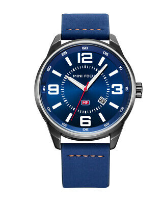Mens Quartz Watch Blue Face Leather Strap Boy Friends Love Luminous Date Casual