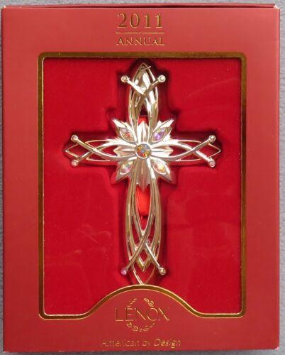 Lenox 2011 Annual Filigree Cross Gemmed Christmas Ornament New in Box