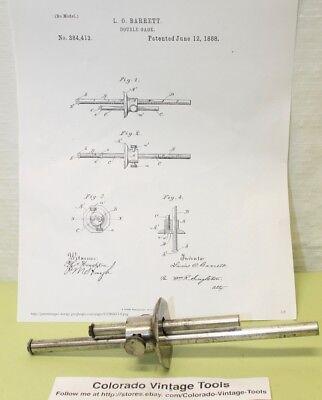 Vintage 2 Rod Marking & Mortise Gage / Pat.June 12, 1888 / L.O.Barrett /$5 Ships