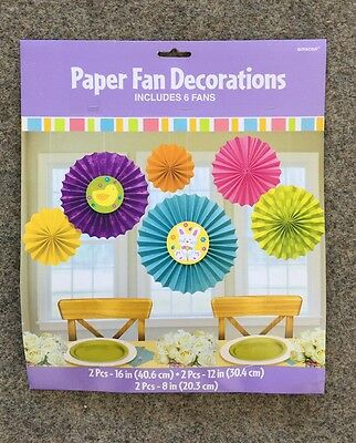 Oster Deko Party Papier Fan Dekoration 6 Lüfter