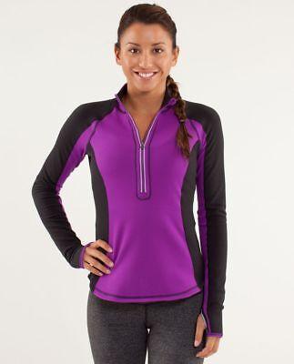Lululemon Run U Turn Pullover Half Zip Jacket Top Tender Violet Black Size 12 A+