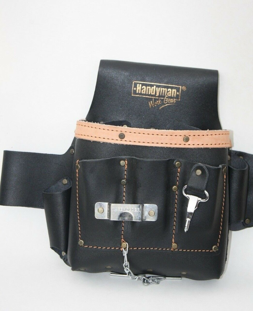 GENUINE LEATHER 10 pkt Electrician Tool Bag Pouch Profession
