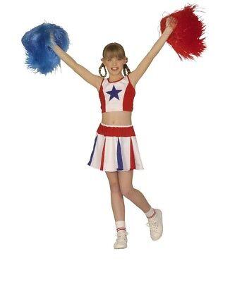 Kostüm Cheerleader rot, weiß, blau 140 Karneval Fasching Neu