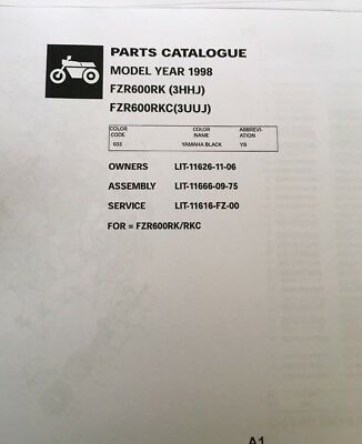 YAMAHA FZR 600 RK 3HHJ RKC 3UUJ PARTS LIST MANUAL CATALOGUE 1998 paper copy.