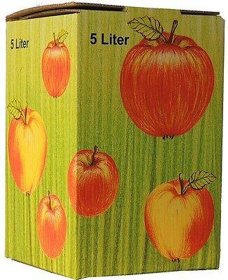 (0,90€/1Stk) 25Stück 5 Liter Bag in Box Karton in Apfeldekor