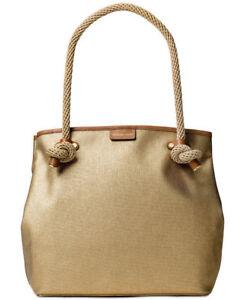 d42ccbbb7 Michael Kors Gold Metallic Canvas Maritime Large Beach Tote Bag for ...