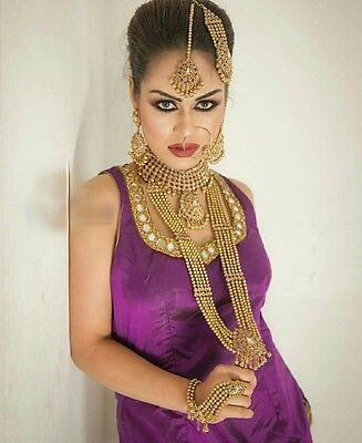 Bollywood Style New Indian Bridal Necklace Choker 7 Piece Set Gold Beads