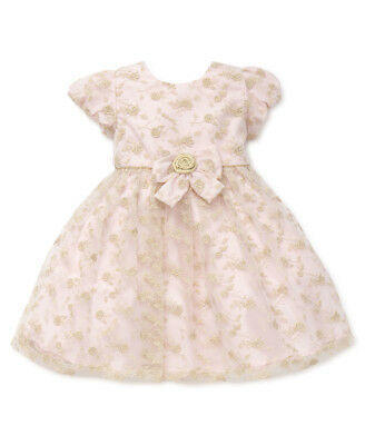 New Little Me Girls Golden Roses Embroidered Dress Size 18 Months MSRP - Little Girls Gold Dress