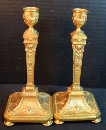 Fine Antique Pair of Diminutive Gilt Bronze Candlesticks