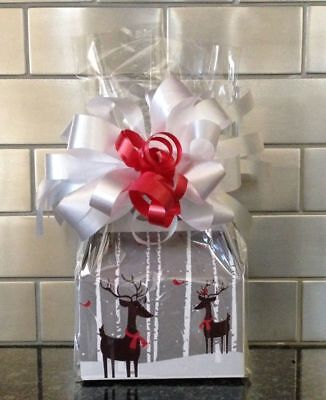 Christmas Reindeer Candy Gift Box-Basket Wrapped With  Red Bow & Card