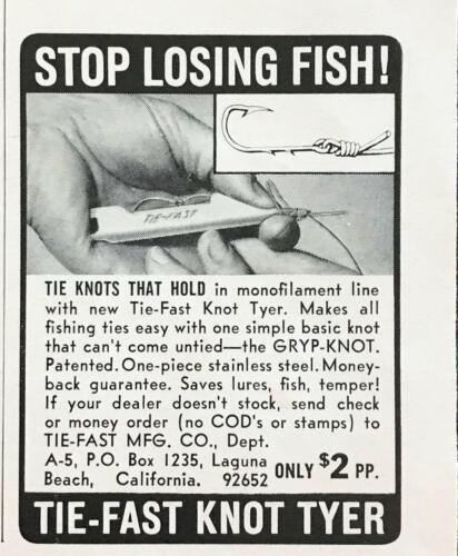 1967 Tie-Fast Gryp-Knot Fishing Line Knot Tyer Print Ad Tie-Fast Laguna Beach CA