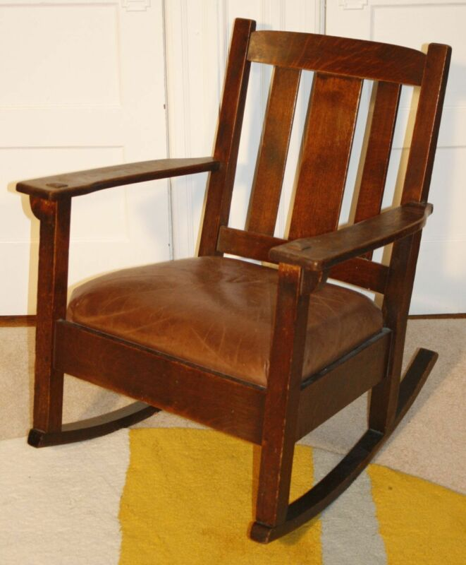 Antique Genuine LIMBERT Arts & Crafts Rocker Rocking Chair. Original Finish!