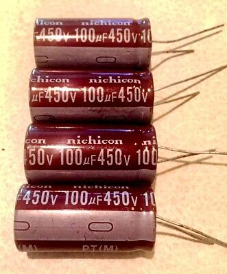 4X 100uF 450V NICHICON Electrolytic Capacitor 17mm X 35mm 105°C