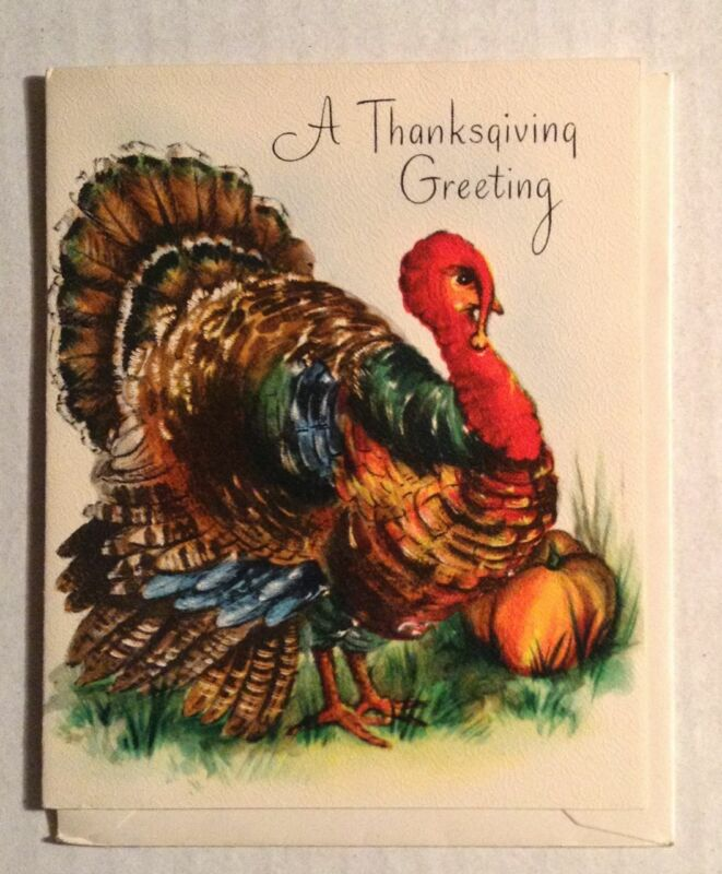 VINTAGE THANKSGIVING CARD WITH ENVELOPE UNUSED A THANKSGIVING GREETING