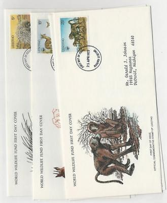 Lesotho, Postage Stamp, #229, 232-232 First Day Covers, 1977 WWF Animals