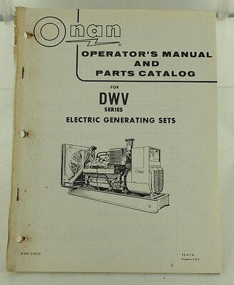Vintage Onan Dwv Series Generator Genset Operators Manual Parts Catalog