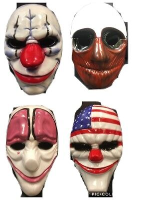 UK FULL SET OF PAYDAY 2 THE HEIST MASKS HALLOWEEN FANCY DRESS UP COSTUME COSPLAY