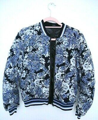 Blank NYC Floral Jacquard Varsity Bomber Jacket Reversible Faux Leather Size -