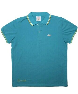 Lacoste Michael Young Mens Plastic Polo Shirt Size 5 Teal Blue Short Sleeve