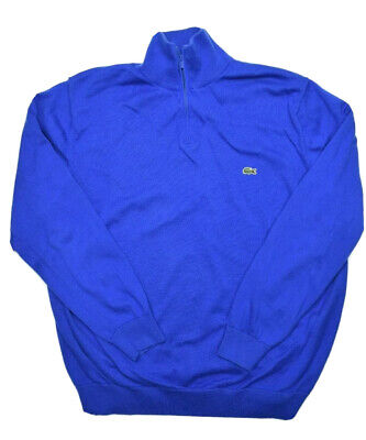Lacoste Mens 1/4 Zip Sweater Size 7 Blue Pullover Cotton Solid 1/2 Sweatshirt