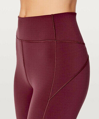 "LULULEMON IN MOVEMENT Crop Everlux 19"" leggings pants BLACK CHERRY Garnet-2 XS"