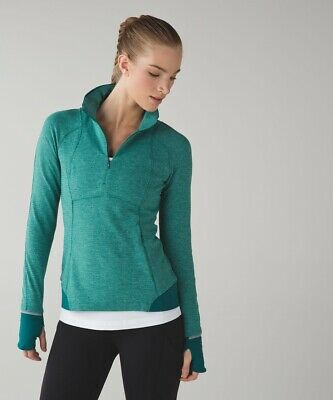Lululemon Runderful Half Zip Running LS Pullover Sweater Top Size 8 Ret $98