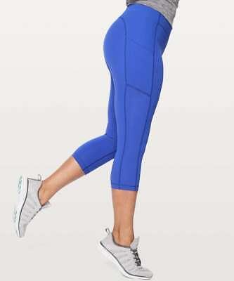Lululemon Speed Up Crop Leggings Yoga running pocket Pants Blue Size 4 UK 8 NWOT