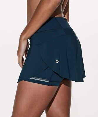 "EUC Sz 10 Lululemon Quick Pace Skirt 13"" In Submarine Blue Running Tennis Golf"