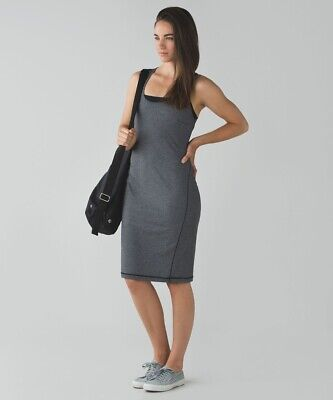 Lululemon Go For It Dress Open Back  Grey Striped Size 8