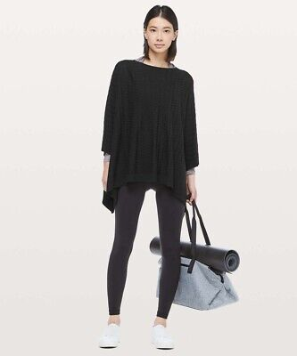 Lululemon Divinity Scarf Poncho Cape Wrap Sweater Black OS Ret $138 NWT