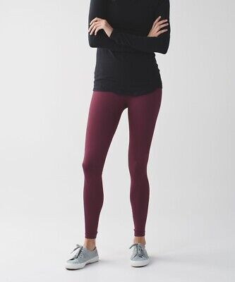 Lululemon Zone In Tight Wine Berry Tight Maroon Seamless Comoression  Sz 4  $128
