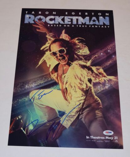 Taron Egerton & Jamie Bell Signed 11x17 Photo Poster ROCKETMAN Elton PSA/DNA COA