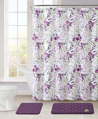 Purple and White Bathroom Set: 2 Memory Foam Floor Mats, Fabric Shower Curtain