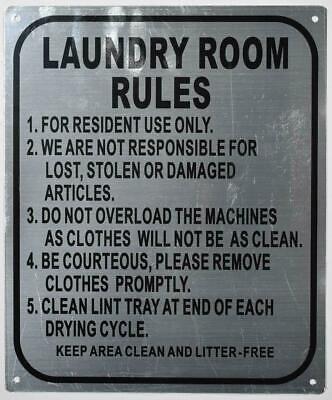 Laundry Room Rules Sign Silver Rust Free Aluminium 10x12-ref0420