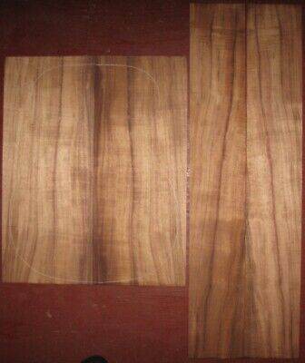 Hawaiian curly koa D/OM guitar back-side wood set, luthier tonewood