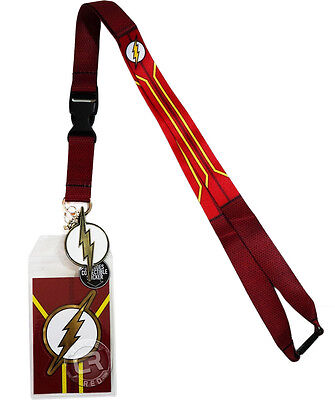 DC Comics The Flash Suit Up Lanyard Sticker ID Badge Holder Metal Charm Official](Lanyards Cheap)