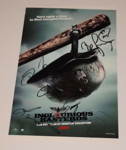 Inglourious Basterds Cast Signed 11x17 Poster x6 Quentin Tarantino Eli Roth COA